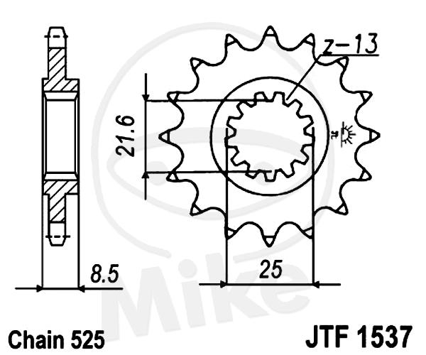 JT sprockets 15 tooth pitch 525 Kawasaki ZX-10R 1000 K