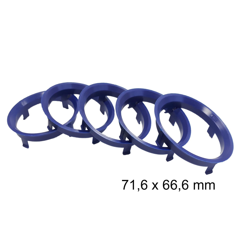 4 x Zentrierringe 71.6 mm auf 66.6 mm blau blue