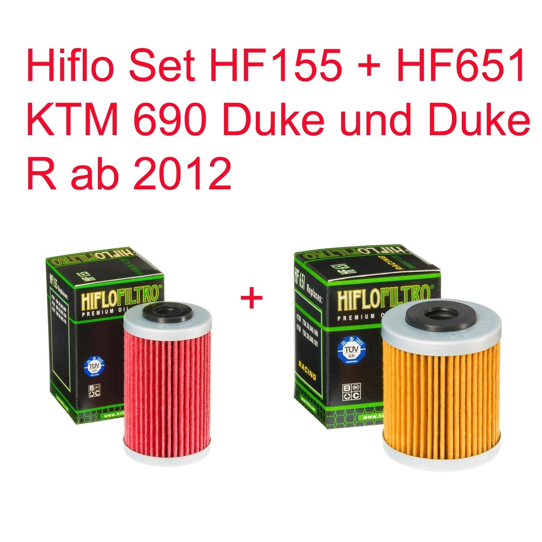 1ST /& 2ND HifloFiltro Oil Filters KTM Duke 690 HF651//HF155 2012 to 2018 x 10