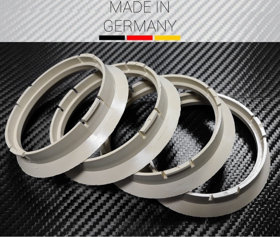 4 x Anello di Centraggio Beige 64.0 x 57.1mm AUDI VW SEAT SKODA MERCEDES BMW
